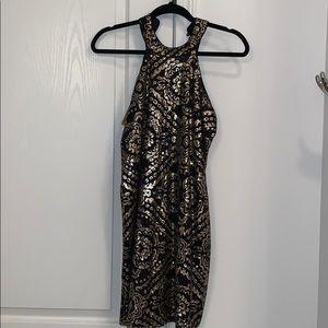 Black and gold sequin Francesca's dress